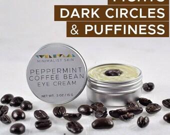 BRIGHTENING Peppermint Coffee Bean Anti-Aging Eye Cream | Reduce Wrinkles, Dark Circles, Puffy Eyes & Fine Lines | Morning Day Serum