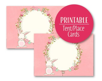 Bunny Tent Cards |  Baby Shower Buffet cards | Printable | Buffet Cards  Pink Place Cards  0704pink