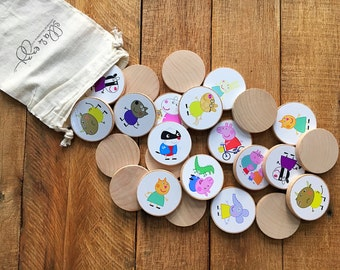 Peppa Pig Wooden Disc Memory Matching Game, Montessori, Peppa Party, Wooden Toy, Educational, Memory Match, Peppa Stickers, Peppa Christmas