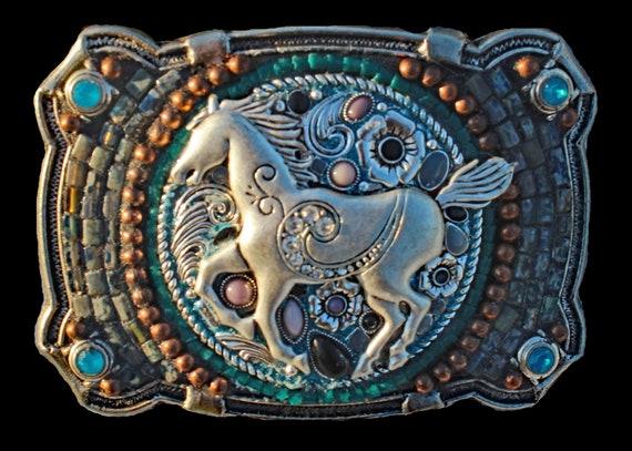 Western Southwestern Bling Horse Mosaic Belt Buckle
