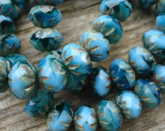 Turquoise blue cruller beads, 9x6 Czech crullers, turquoise rondelle beads