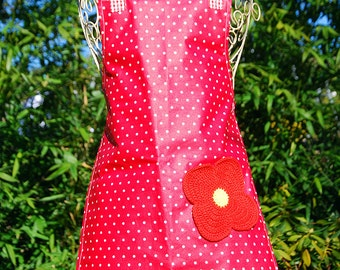 Childs Apron - Red and White Dot