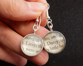pride and Prejudice earrings, literary jewelry, Darcy & Lizzy, Jane Austen gift, upcycled book page, repurposed books, book quote jewellery