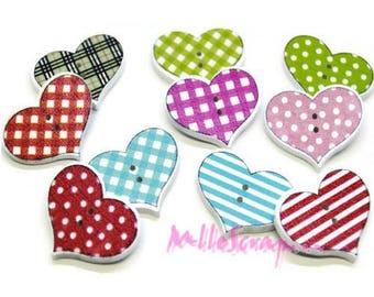 Set of 10 decorated hearts scrapbooking embellishment wooden buttons *.
