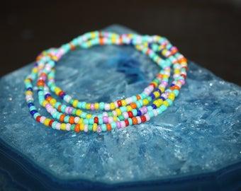 Multicolored Seed Bead Bracelet/Anklet/Necklace, Bohemian Ankle Bracelet, Hippie Festival, Colorful Wrap Bead Bracelet, Bracelet Wrap Boho
