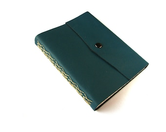 Blue Large Leather Sketchbook, Art Journal with Snap Closure