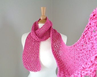 Crochet Mesh Scarf, Bright Pink, Cotton Blend, Skinny Scarf, Gift for Her, Thin Lacy Scarf, Crochet Lace Scarf, Womens Scarf