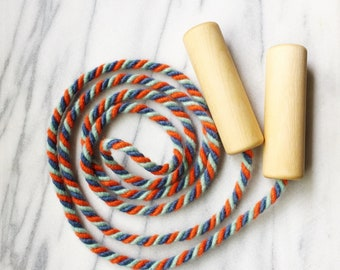 Kids Skipping Rope - Wool Jump Rope with Wooden Handles - Wooden Toy - Jumping Rope - Montessori Gross Motor - Waldorf Toy