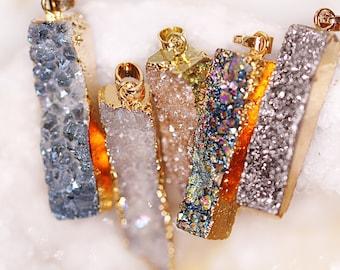 Rectangle Druzy Pendant Necklace - Gold Druzy Geode Necklaces - Rainbow, Blue, White, Cream, Silver Druzy Crystal Pendants - Rectangle Slice