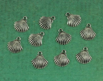 Silver Scallop Shell Charm - Package of 10