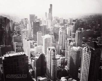 Chicago photo, black and white, landscape, skyline, city, Chicago art, home decor - Bird's Eye View