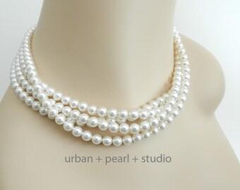 Multi Strand Pearl Necklace Soft White Swarovski Pearl Choker Bridal Necklace Wedding Jewelry