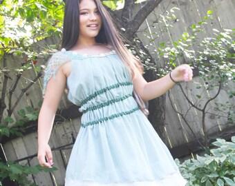 upcycled dress XS - S upcycled clothing, sleeveless dress . mermaid dreams