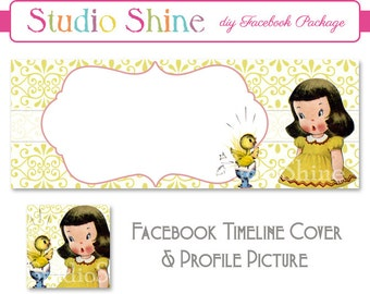 DIY Facebook Cover Package - Facebook Timeline Cover and Profile Picture - Sweet Surprise - Website or Blog Banner Digital Instant Download