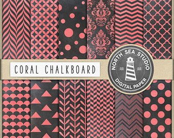 Chalkboard Paper Pack | Colored Chalkboard Patterns | Scrapbook Digital Paper | Printable Backgrounds | 12 JPG, 300dpi Files | BUY5FOR8