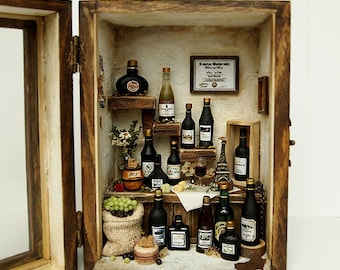 Vintage Antique wine house (No.2) wood box display set- Dollhouse Miniatures 1:12