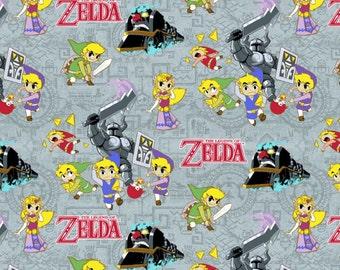 "IN STOCK - Zelda Fabric, Nintendo Fabric: Legend of Zelda Sword Powers  100% cotton 44"" wide fabric by the yard 36""x44"" (SC155)"