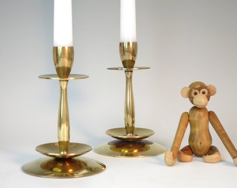 Danish Modern UFO Brass Candleholders - Pair of Denmark Modernist Brass Candle Holders - Mid Century Modern Candlesticks - Atomic Era Decor