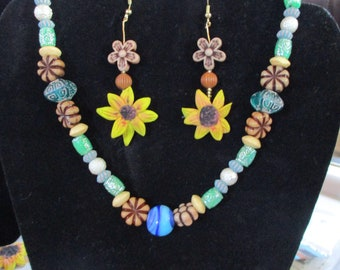 sunflower earring and necklace set