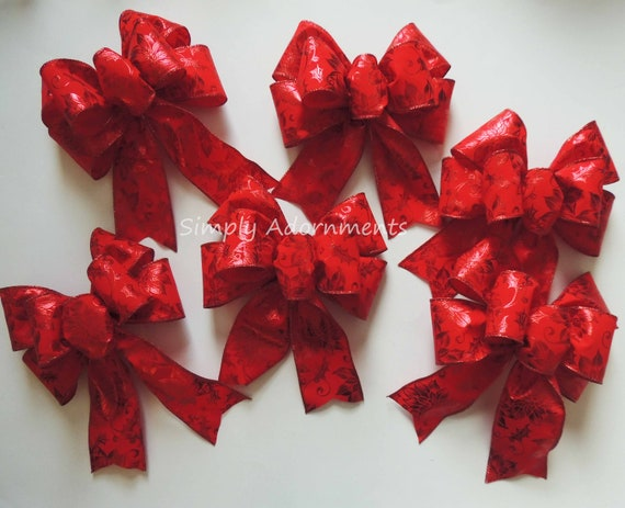 6 Red Poinsettia Christmas Bows Poinsettia Christmas Wreath Bows Ornament Bow Red Poinsettia Bows Christmas bows for Decorations