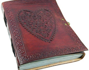 Large Vintage Heart Embossed Leather Journal Diary /Instagram Photo Album - Lock with handmade  paper
