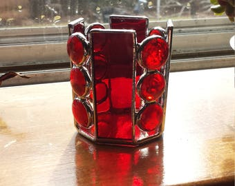 Stained glass candle holder, tea light holder