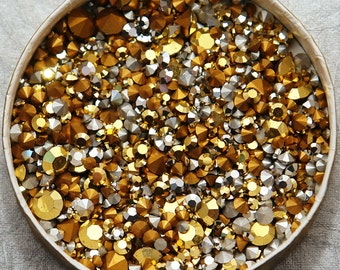 100 Aurum Gold & Silver Swarovski chaton Mix - 1st qual machine cut huge assortment of loose rhinestones for Crystal Clay TINY and small