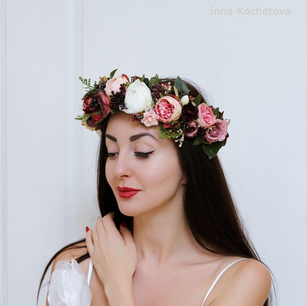 Floral Headpiece For Wedding: Rose Peony Flower Crown Wedding Hair Wreath Bridal Headpiece