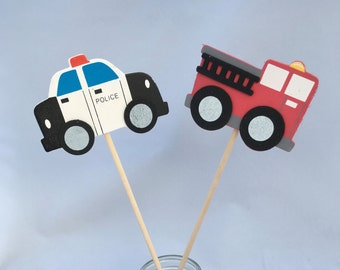 Emergency Services Party Centerpiece - Firetruck and Police Party Decoration