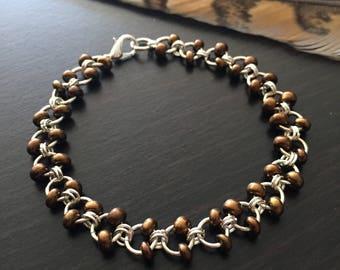 Bronze Beaded Bracelet, Silver Chain Bracelet, Beaded Chain Bracelet, Bronze and Silver Bracelet, Chainmail Bracelet, Chainmail Jewelry