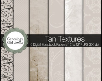 Tan & Cream Textures with Swirls // Set of 6 Digital Papers // Great for Family Tree and Genealogy Scrapbooking Album