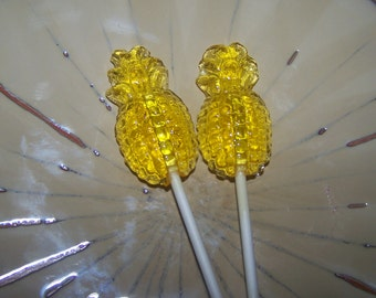 10 Juicy Pineapple Lollipops Tropical Luau Party Favor