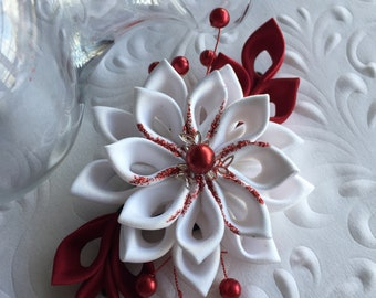 White and Red Kanzashi Flower Hair Clip - Kanzashi Wedding Flowers