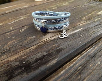 """Bracelet 2 laps liberty """"Larry"""" composed of links leather blue and silver sequin blue epoxy enamel and OMS charm"""