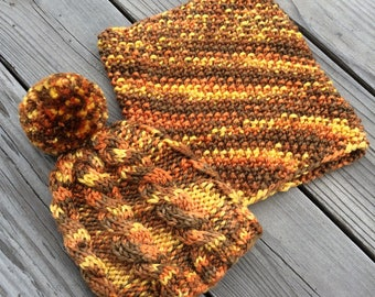 autumn cabled toque and cowl set