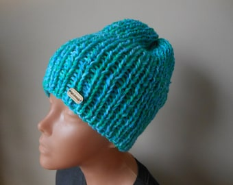 Hand Knit Slouchy Beanie Hat Acrylic  Blue Green blend