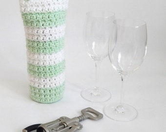 White and Mint Green Crocheted wine holder, wine holder, wine cozy