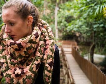 Crochet Shawl, Woman Shawl, Handmade Shawl, Motif Shawl, Moher Shawl, Fluffy Shawl, Vintage Shawl, Colorful Shawl, Granny Square Shawl