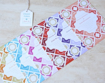 Mexican Wedding Invitation - Talavera Tile - Mexico Tile - Destination - Coral Red Orange Purple Aqua Teal Pink - SAMPLE