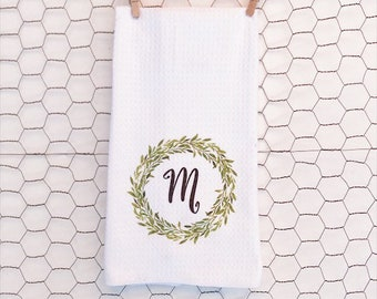 Dish Towel- Green Wreath with Your Initial- Mother's Day Gift- Realtors, Kitchen- Housewarming- Personalized- Bridal Shower- Wedding
