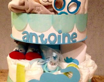 "Customizable 2 story ""The blue elephant"" diaper cake"