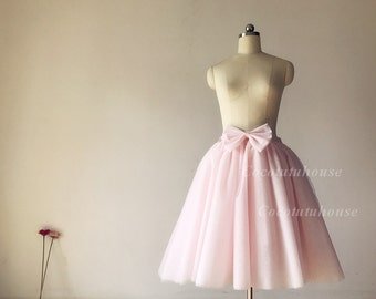 9 layers of Blush Pink Skirt with Bow/Women Tulle Skirt with Bow/ Short Tulle skirt/Wedding Dress Underskirt/Bridesmaid/Valentine's Day Gift