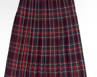 Plaid Wool Pleated Skirt Crazy Horse Label