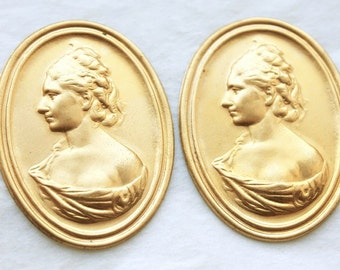 2 Vintage Brass Victorian Portrait Stampings // Brass Georgian Cameo // NOS Jewelry Supply