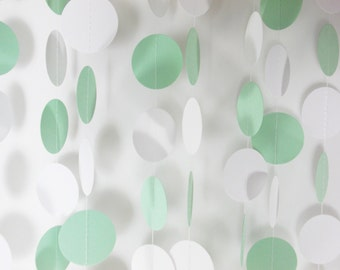 Party Paper Circle Garland, Mint Green & White Garland, Party Decoration, Birthday, Wedding, 12', Ships in 2-3 Business Days