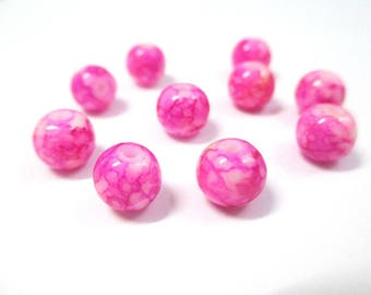 10 pearls pink speckled glass 8mm (N-48)