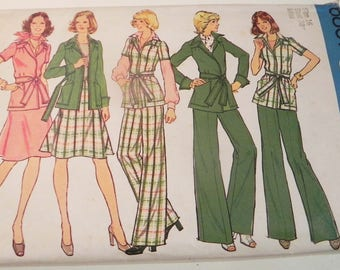 1970s Boho Wrap Front Jacket Flared Skirt straight leg pants vintage sewing pattern Simplicity 6857 Size 16 Bust 38""