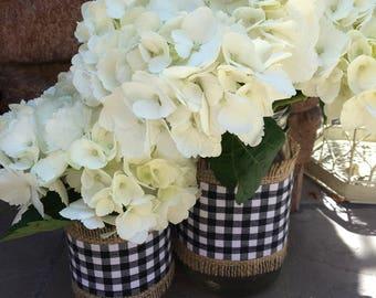 Mason Jar Wrap, Check, Black & White,  Mason Jar Decoration, Baby Shower, Party, Wedding Decoration