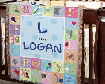 Personalized ABC Baby Blanket, baby blanket, baby blanket for girl, baby blanket for boy, pink, blue -gfy83039805(boy) or -gfy83039815(girl)