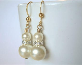 Ivory Pearl Earrings Bridesmaid Jewelry Gold Pearl Earrings Cream Pearl Earrings Rhinestone Earrings
